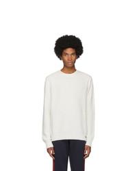 Мужской белый свитер с круглым вырезом от Moncler