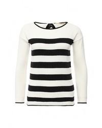 Женский белый свитер с круглым вырезом от Naf Naf