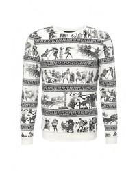 Мужской белый свитер с круглым вырезом от Sixth June