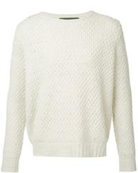 Женский белый свитер с круглым вырезом от The Elder Statesman
