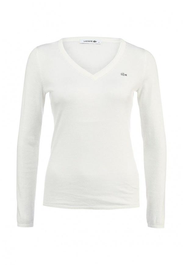 176e67862d1b Женский белый свитер с v-образным вырезом от Lacoste   Где купить и ...