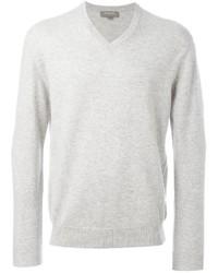 Мужской белый свитер с v-образным вырезом от N.Peal