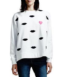 Белый свободный свитер с принтом