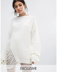 Женский белый свободный свитер