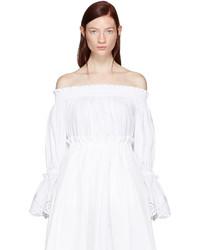 Белый топ с открытыми плечами с вышивкой от Alexander McQueen