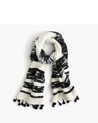 Белый шарф в горизонтальную полоску