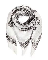 Белый шарф с принтом