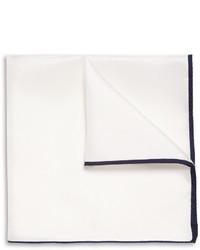 Мужской белый шелковый нагрудный платок от Drakes