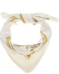 Белый шелковый шарф с принтом