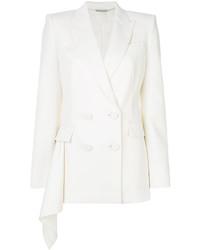 Женский белый шерстяной двубортный пиджак от Alexander McQueen
