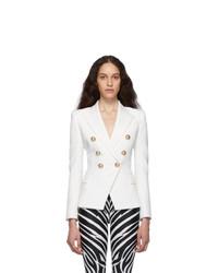 Женский белый шерстяной двубортный пиджак от Balmain