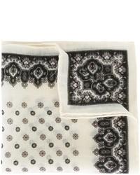 Мужской белый шерстяной нагрудный платок с цветочным принтом от Canali