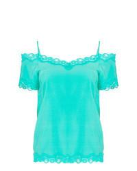 Бирюзовая блуза с коротким рукавом