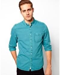 бирюзовая джинсовая рубашка original 2773221