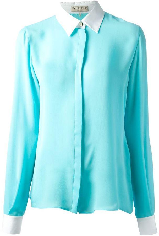 b432514a548 ... Женская бирюзовая классическая рубашка от Emilio Pucci
