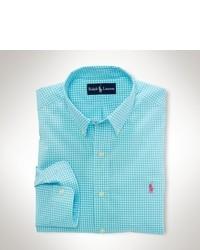 Бирюзовая рубашка с длинным рукавом в мелкую клетку