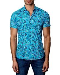 Бирюзовая рубашка с коротким рукавом с принтом