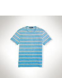 Бирюзовая футболка с круглым вырезом в горизонтальную полоску