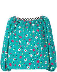 Бирюзовая шелковая блузка с вышивкой от Marc Jacobs