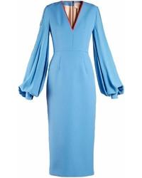 Бирюзовое сатиновое платье-миди