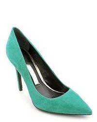 Бирюзовые замшевые туфли