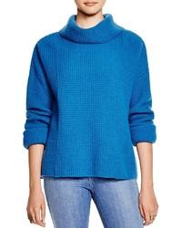 Бирюзовый вязаный свитер с хомутом