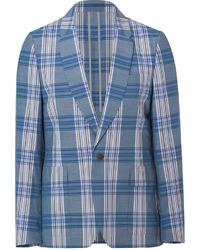 Бирюзовый пиджак в шотландскую клетку