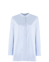 Голубая блуза на пуговицах