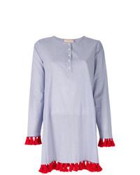 Голубая блузка с длинным рукавом в вертикальную полоску от Tory Burch