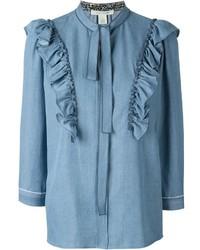 Голубая блузка с длинным рукавом с рюшами от Marc Jacobs