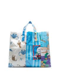 Голубая большая сумка из плотной ткани с принтом