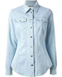 Голубая джинсовая блуза на пуговицах