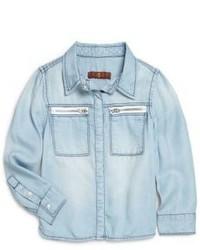 Голубая джинсовая классическая рубашка