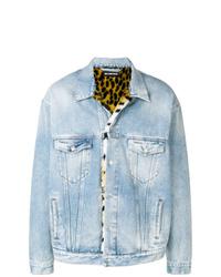 Голубая джинсовая куртка с принтом