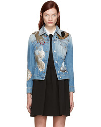 Женская голубая джинсовая куртка с украшением от Alexander McQueen