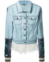 Женская голубая джинсовая куртка с украшением от Aviu