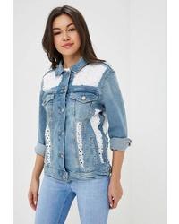 af03de8e4705 Купить женскую голубую джинсовую куртку - модные модели джинсовых ...