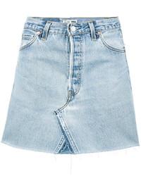 Голубая джинсовая мини-юбка
