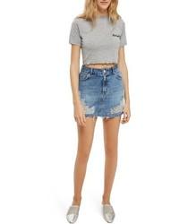 Голубая джинсовая рваная мини-юбка