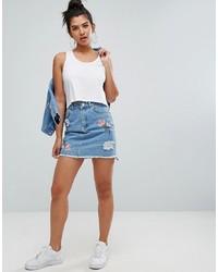 Голубая джинсовая рваная мини-юбка от Chorus