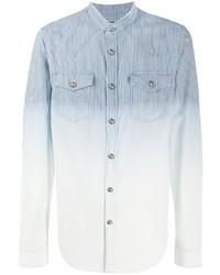 Мужская голубая джинсовая рубашка в вертикальную полоску от Balmain