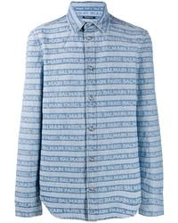 Мужская голубая джинсовая рубашка в горизонтальную полоску от Balmain