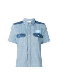 Женская голубая джинсовая рубашка с коротким рукавом от Calvin Klein Jeans