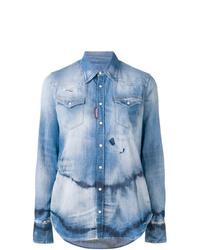 Женская голубая джинсовая рубашка с принтом тай-дай от Dsquared2