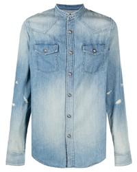 Мужская голубая джинсовая рубашка от Balmain