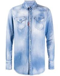 Мужская голубая джинсовая рубашка от DSQUARED2