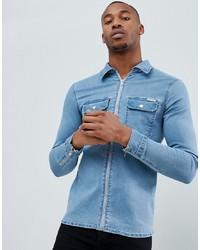Мужская голубая джинсовая рубашка от Liquor N Poker