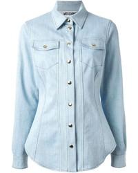 Женская голубая джинсовая рубашка от Moschino