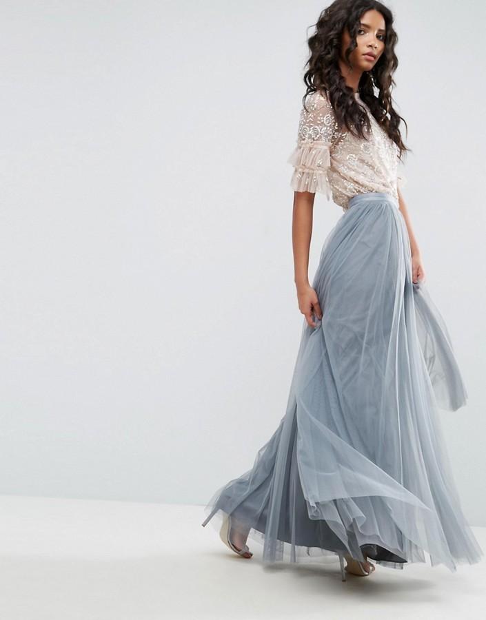 df01d55debe ... Голубая длинная юбка из фатина от Needle   Thread ...
