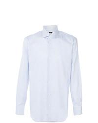 Мужская голубая классическая рубашка в вертикальную полоску от Barba